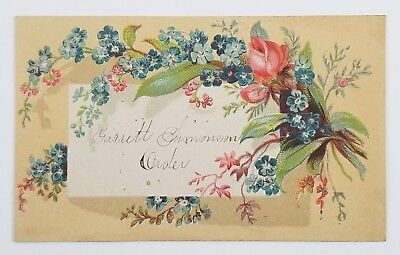 Victorian Calling Card Used As School Reward Card Flower Design ()