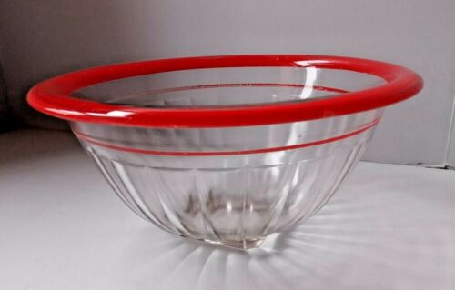 "Vintage Hazel Atlas Clear Glass mixing bowls Red Rim 10"""