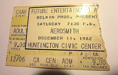 Vintage Aerosmith Concert Ticket Stub Huntington Civic Center WV 1982