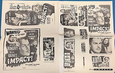 """IMPACT! Brian Donlevy vintage theater owners 12"""" x 19"""" ad sheet circa 1949"""