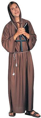 Brown Monk Costume Robe Adult Mens Gown Hooded Hoodie Halloween Habit Cucula