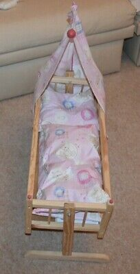 Dolls Rocking Bed Cot Crib Wooden Toy
