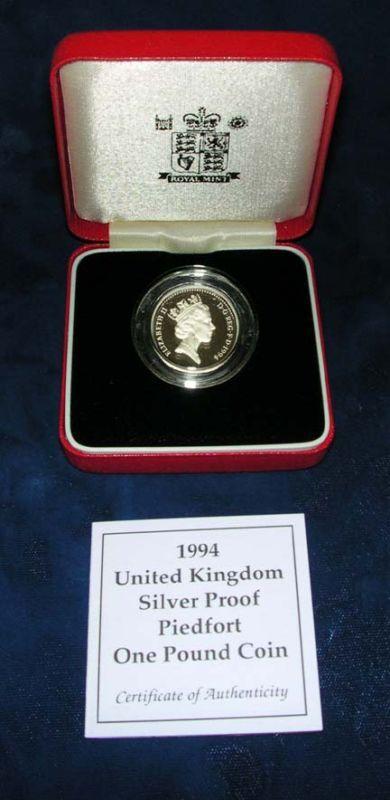 GREAT BRITAIN 1994  1 POUND  SILVER PROOF PIEDFORT, IN ORIGINAL BOX OF ISSUE