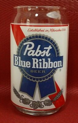 Pabst Brewing Co Milwaukee Blue Ribbon Beer 1844 Clear Glass Red White Blue Gray for sale  Wichita