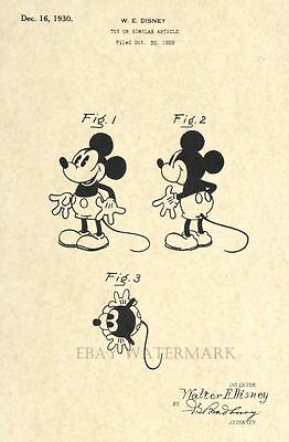 Official Mickey Mouse 1930 US Patent Art Print - Vintage Walt Disney - Antique 9