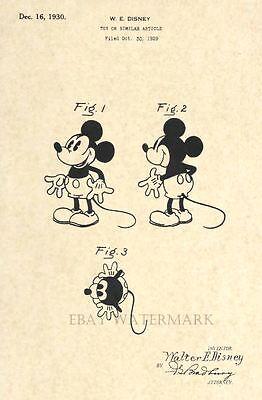 Купить Official Mickey Mouse 1930 US Patent Art Print - Vintage Walt Disney - Antique 9