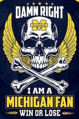 2 Michigan Wolverines Damn Right Fan Skull Crossbones Vinyl Stickers 5x3.5 Decal