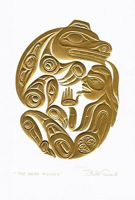 The Bear Mother Bill Reid Gold Embossed Art Card Northwest Coast Native, used for sale  Canada