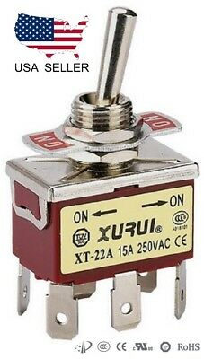 Heavy Duty Dpdt On-on Toggle Switch 20a 125v 15a 250v Spade Terminals 22a