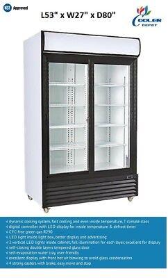 New Two Sliding Door Merchandiser Display Commercial Refrigerator Cooler Nsf