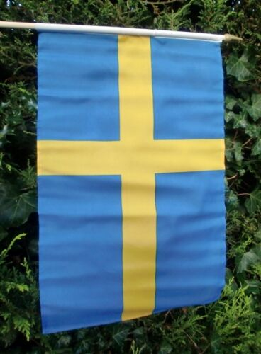 "SWEDEN LARGE HAND WAVING FLAG 18"" X 12"" WITH 24"" POLE flags SWEDISH STOCKHOLM"