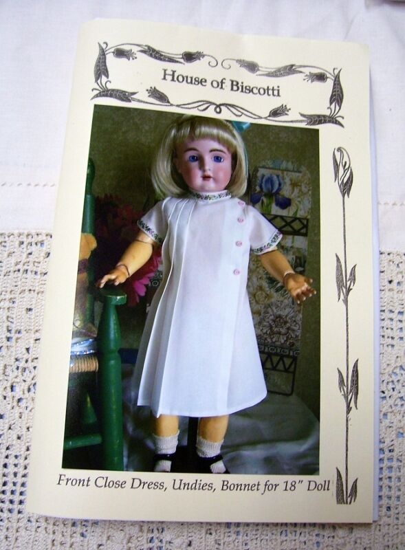 "18"" Doll PATTERN for  Front Close Dress, Antique Daisy Style   Kestner"