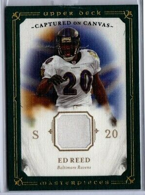 2008 UD Masterpieces Captured on Canvas Football Ed Reed JERSEY -