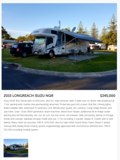 Longreach Motor Home, 2015. Deal of the year