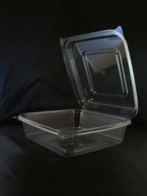 9x9x3 Disposable Food Container 1-Compartment Clamshell Container W/ Hinged -