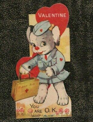 Vintage Die Cut Mechanical Valentine ANTHROPOMORPHIC DOG NURSE Wi FIRST AID KIT