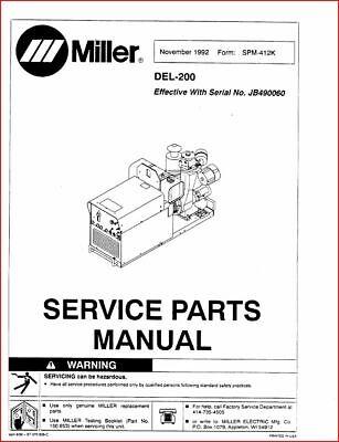 Miller Del-200 Service Parts Manual Eff. W Jb490060