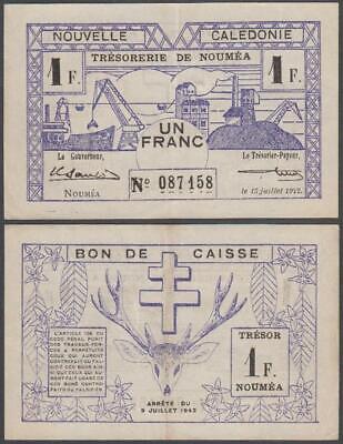 Noumea - New Caledonia - Bon De Caisse, 1 Franc, 1942, VF+++, P-52