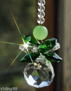 hanging 20mm Crystal feng shui ball green beads decoration ornament suncatcher