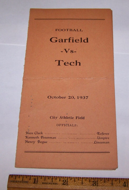 1937 GARFIELD vs TECH High School Football Program w Players TERRE HAUTE INDIANA
