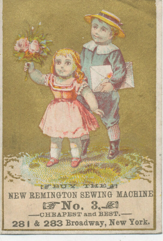 D3135  VICTORIAN TRADE CARD REMINGTON SEWING MACHINES NEW YORK