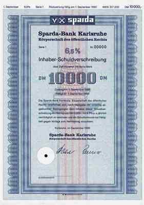 Sparda Bank Karlsruhe 1985 Baden Baden Pforzheim Bruchsal Blankette 10.000 DM