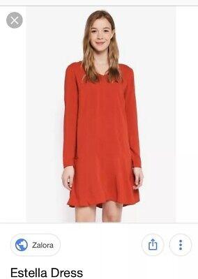 ICHI Dress Estella Red Ochre Size EU 40 Uk 12 Spring Summer