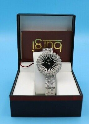 New Women's Burgi BUR054SSBK Dazzling Crystal-Accented Two-tone Bracelet Watch
