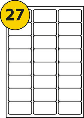 27 LABELS X 50 SELF ADHESIVE A4 - LABEL SIZE 63.5 x 29.6mm SUITABLE FOR FBA