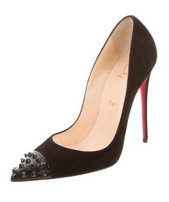 NIB CHRISTIAN LOUBOUTIN *SOLD OUT* Black Suede Geo Pumps Heels 40