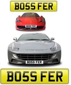 BOSS FERRARI cherished private personalised number plate. Boss Ferrari - Ferguson