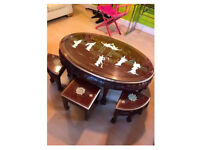 Oriental Chinese Coffee Table and Stools