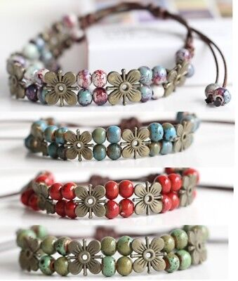 - 4 Styles Leather Flower, Double Layered Beaded Womens Anklet Ankle Bracelet D602