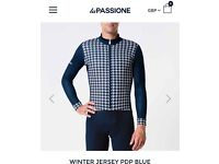 La Passione Italian Cycling Winter Jersey Long Sleeved Blue PDP XL RRP £90