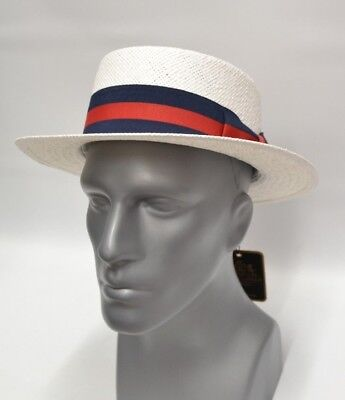 Men's White Boater Hat 100% Straw Skimmer By Bruno Capelo - Skimmer Straw Hat