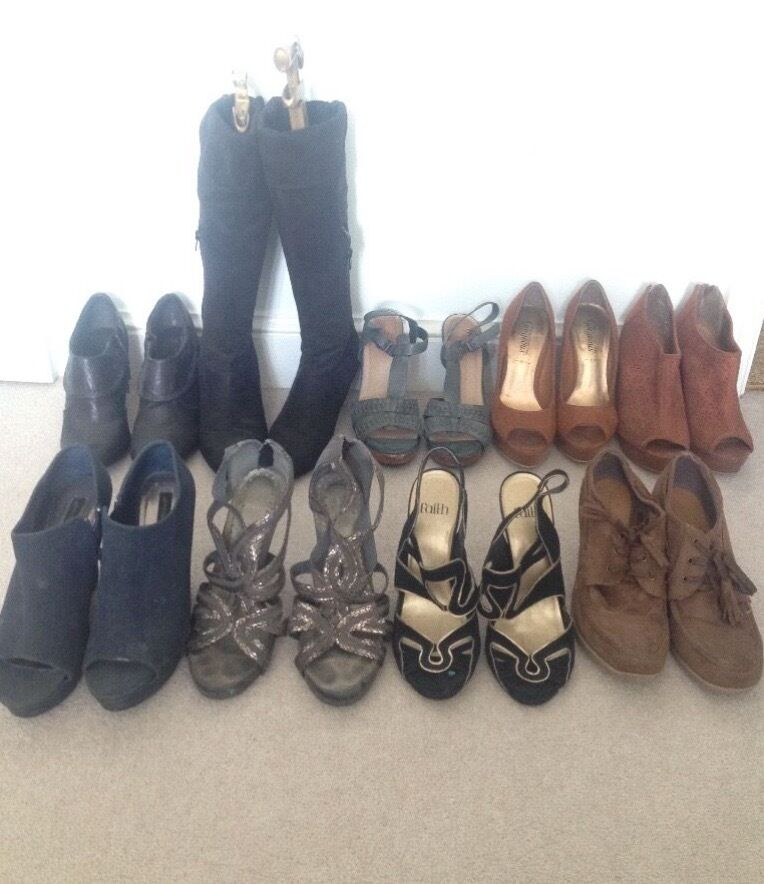 *JOB LOT* 10 Pairs of Women's Shoes - Size 5 - Heels, Wedges, Boots