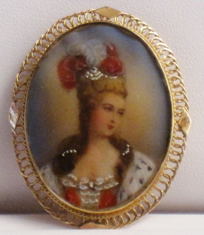 Vintage 14kt YG Hand Painted Portrait Cameo Pin/Pendant * GAL Appraisal