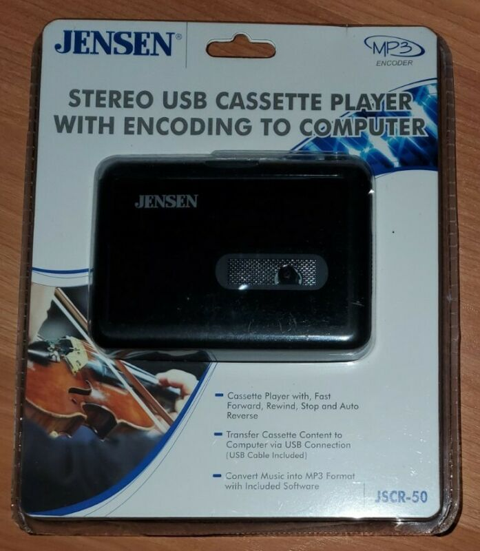 NEW Jensen JSCR-50 Stereo USB Cassette Player With Encoding to Computer MP3