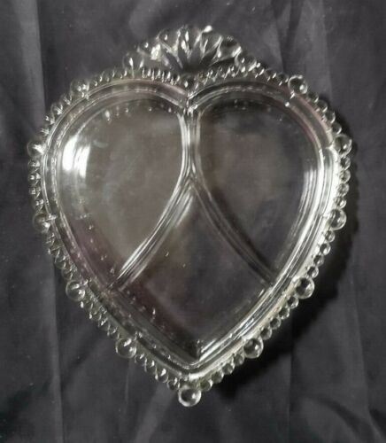 "PADEN CITY GLASS HEART SHAPED CANDY DISH / BOX - 2"" BY 8 3/4"" BY 7 1/2"""