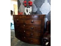 Stunning Large Bow Fronted Edwardian Vintage Chest of Drawers - UK Delivery