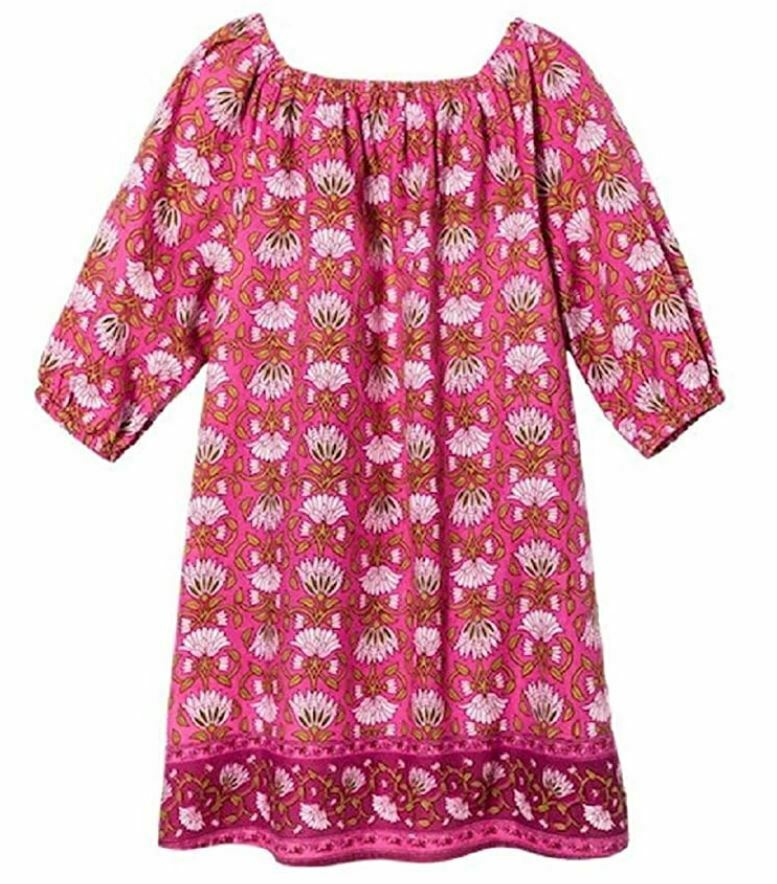 Girls' Happy by Pink Chicken Floral 3/4 Sleeve Tent Dress – Fandango Pink 5Y Clothing, Shoes & Accessories