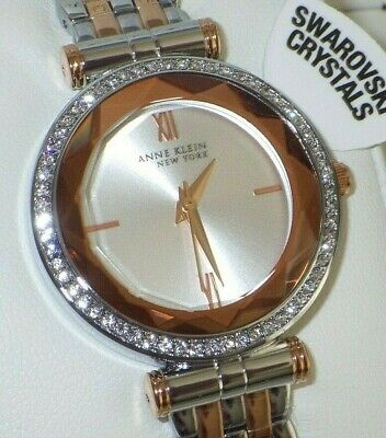 Anne Klein Women's 12/2303SVRT Crystal Accented Two Tone Watch
