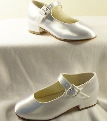 Flower Girl Satin Bridal Wedding Shoes Sizes 6, 8.5 (Flower Girl Satin Shoes)