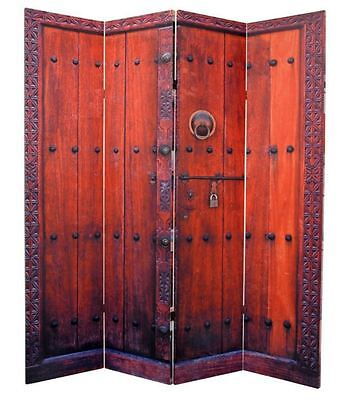 Oriental Furniture Room Divider 4-Panel Folding Privacy Screen Wood Japanese -