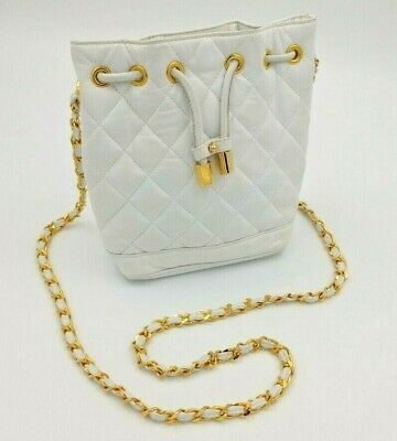 Claudia Firenze Purse - White with Gold Chain and Leather Strap - Made in (Firenze Gold Chain)