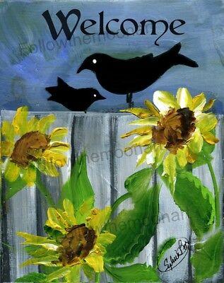 Welcome Sunflower Garden  Folk Art Country Pair Black Crows Art Print ()