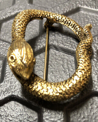 Halloween Snake Pin Brooch Scary Vintage Unique Gold