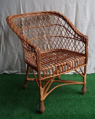 WICKER chair seat ARMCHAIR for GARDEN CONSERVATORY  living room NATURAL Azure