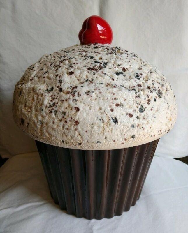 Vintage 1977 E.S. Mold Brown/White Cupcake Cookie Jar w/ Sprinkles Cherry Large