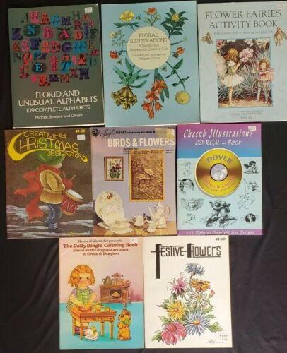 Lot of 8 Art Illustrations Coloring Craft Books Fairies Flowers Cherubs Dolls